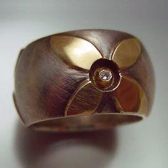 Sterling Silver, 14k gold, diamond ~ Ann Marie Cianciolo