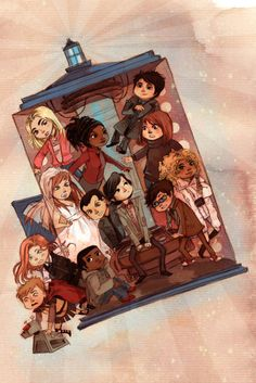 Rose, Martha, Donna, Captain Jack, River, Rory, Amy, and Doctors 9, 10, and 11