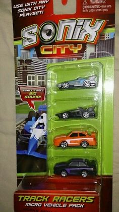 Sonix City Track Racers Micro Vehicle Set of 4 Cars *NIP* Ages 4+ Free Shipping