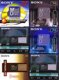 """Now a thing of the past, all of these are 74 minute standard minidiscs, made in Austria for Sony. Two of the """"color"""" versions are identical,..."""
