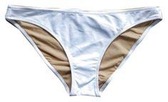 BCBG Max Azria NEW White (Fully Lined) Scoop Bikini Bottom, LARGE