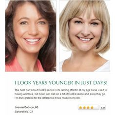 """Look years younger in just days """"The best part about CellEssence is its lasting effects! At my age, I was used to having wrinkles but now I just dab on a bit of CellEssence and away they go. I'm truly grateful for the difference it has made in my life."""" -Joanne Dobson, 60 #cellessence #youngagain #antiaging #skincare #smoothskin #beauty #wrinklefree #skinprotection #damagedskin #DNArepair #lookyoung"""