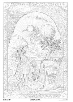 Mystical fantasy Doodle Art Coloring Poster photo mystical_castle_doodle_art_poster.jpg