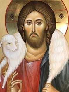 Byzantine Icons, Byzantine Art, Religious Icons, Religious Art, Jesus Is Lord, Jesus Christ, Christ The Good Shepherd, Good Shepard, Jesus Drawings