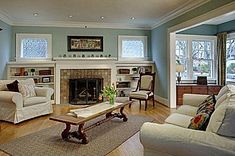 living room in Univ District - same fireplace tile as home we are looking . Bungalow Living Rooms, Craftsman Living Rooms, Craftsman Home Interiors, Craftsman Interior, Craftsman Decor, Craftsman Houses, Craftsman Cottage, Swedish Interiors, Cottage House