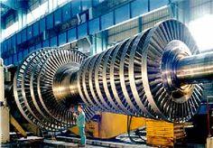Turbina de vapor industrial. Creo que se puede observar bastante la diferencia entre las turbinas de avión y las turbinas de vapor