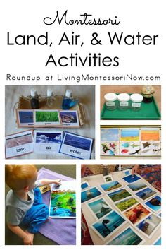 Roundup with lots of resources for Montessori land, air, and water activities for preschoolers; perfect for classroom or home.