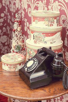 Christmas vintage telephone