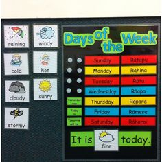Days of the Week and Weather Chart! Source by Days Of The Week Activities, Teaching Activities, Teacher Bulletin Boards, Classroom Organisation, Organization, Kindergarten Lesson Plans, Charts For Kids, Educational Crafts, Early Learning