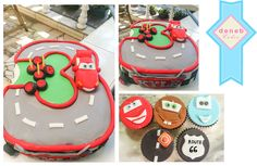 Number 3 with Lightning McQueen cake and cupcakes.