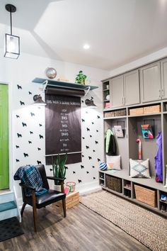 Visit my DIY Mudroom Makeover that displays your kids artwork in a gallery wall, corals shoes and coats in lockers, and generally gets the whole the whole mudroom organized . Metal Wall Basket, Interior Decorating, Interior Design, Organizing Your Home, Mudroom, Home Furniture, Locker Storage, Shoe Storage, Lockers