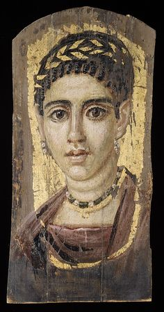 Portrait of a young woman with a gilded wreath  Period: Roman Period Date: A.D. 120–140 Geography: Egypt Medium: Encaustic, wood, gold leaf Dimensions: H. 36.5 x W. 17.8 cm (14 3/8 x 7 in.) Credit Line: Rogers Fund, 1909 Accession Number: 09.181.7