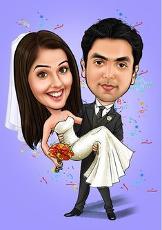 Caricature Gifts, Wedding Caricature, Caricature From Photo, Traditional Wedding Gifts, Create Wedding Invitations, Gifts For An Artist, Couple Drawings, Yellow Wedding, Cartoon Wallpaper