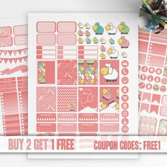 Pink, SHEEP Planner Stickers Printable, Erin Condren Sticker, Monthly/Weekly Sticker Kit, Printable Sampler, Erin Condren, Instant download