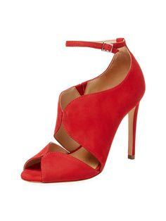 Schutz Women s Moon Nubuck Sandal - Red 16c159c2a823