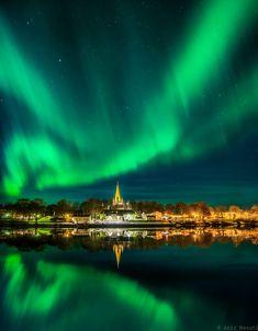 Beautiful nordlys [northern light] over Nidaros Cathedral (Trondheim, Norway)  by Aziz Nasuti on 500px