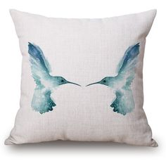 Creative Blue Bird Ink Painting Pattern Square Shape Pillow Case ($7.63) ❤ liked on Polyvore featuring home, home decor and decor