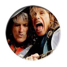 ONLY ONE Steven Tyler Joe Perry Aerosmith 2-1/4 Inch Button