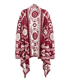 Jacquard-knit cardigan in a soft cotton blend with long sleeves and a draped front section.