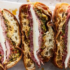 There is no better beach or picnic sandwich: It feeds a crowd, gets better as it sits, and is a hearty meal built inside a loaf of bread. About that bread: Unless you live in New Orleans and can get the real thing, opt for a ciabatta or other loaf with a sturdy but not too crusty exterior.