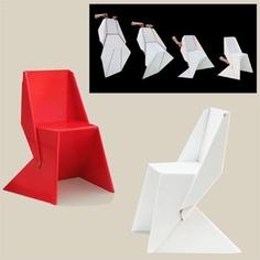 http://www.cosasdearquitectos.com/2011/02/origami-para-mobiliario-de-carton-silla-papton/  Unos cuantos pliegues transforman una tira de cartón en una ligera silla de no más de 2 kgs. de peso y con un diseño limpio y unitario. En eso consiste la Silla Papton diseñada por el estudio alemán FUCHS+FUNKE.