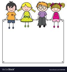 Cute cartoon kids frame vector - Cute cartoon kids frame vector Best Picture For kids jim carrey For Your Taste You are looking fo - Cartoon Kids, Cute Cartoon, School Border, Stick Figure Drawing, School Frame, Page Borders, Graduation Diy, Kids Vector, Stick Figures