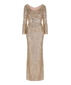 572735683eb 10th Anniversary Gold Bombshell Sequin Evening Gown