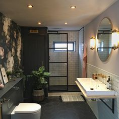 Industrial Shower, Industrial Style Matte Black Shower Screen All Sizes Industrial Showers, Industrial Bathroom, Steam Showers Bathroom, Bathrooms, Stone Bathroom, Black Shower, Downstairs Toilet, Luxury Shower, Family Bathroom