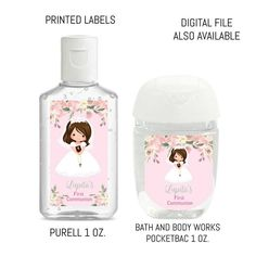 Girl Communion Hand Sanitizer Labels Candy Bar Wrappers, First Holy Communion, Laser Printer, Printing Labels, Bottle Labels, Girls Shopping, Bath And Body Works, Hand Sanitizer, High Gloss