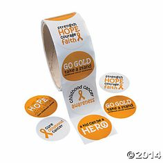 Childhood Cancer Awareness Stickers $2.50/100 Oriental Trading Co