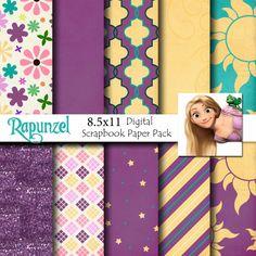Rapunzel Disney Tangled Inspired 8.5x11 A4 Digital by monbonbon, $3.99 #Rapunzel #Pascal #digitalscrapbooking #Disney