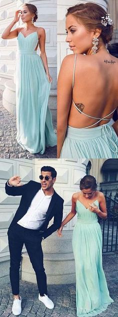 $169.00 Spaghetti Straps Backless Long Chiffon Prom Dress,Blue Long Bridesmaid Dress Custom Made