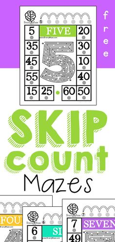Free Skip Counting Mazes for Kids!  Multiplication practice for numbers 2-9, fun mazes and activity pages from BrainyMaze.com