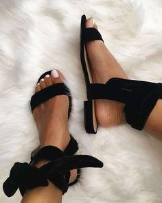 The Fashion Magpie Ankle Wrap Velvet Sandals