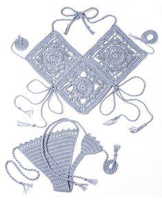 Tesoro de la Atlántida crochet Bikini en gris perla. Bikini