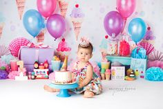 Specializing in newborn, children and family photography. Ice Cream Parlor, Candy Shop, Girl Cakes, Children And Family, Cake Smash, Birthday Cake, Birthday Ideas, Baby Photos, First Birthdays