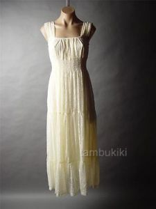 Ivory Antique Style Tapestry Lace Medieval Maiden Long Chemise Day Dress / Ebay Store Tambukiki / Gown