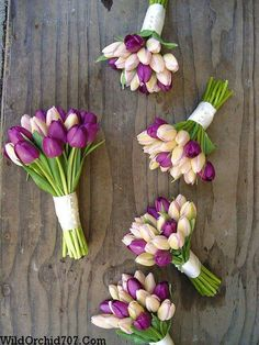 Bridesmaid and maid of honor bouquets. These hand tied bouquets are a combination of purple and blush tulips for a spring wedding at Paradise Ridge. Sonoma County wedding flowers by The Wild Orchid. Bridesmaid and maid of honor bouquets. These hand tied b Tulip Bouquet Wedding, Purple Wedding Flowers, Purple Tulips, Bride Bouquets, Fake Flowers, Bridal Flowers, Rose Wedding, Floral Wedding, Spring Wedding