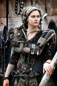 Dieselpunk womens clothing - utility vest, headphones, pants