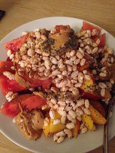 Big vegan pudding! Watermelon, peaches, cinnamon, chia seeds, puffed rice, natural peanut butter