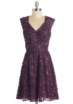 Twinkling at Twilight Dress in Plum - Special Occasion, Prom, Wedding, Bridesmaid, Homecoming, Variation, Purple, Solid, Cutout, Sequins, A-line, Sleeveless, Woven, Better, V Neck, Mid-length, Holiday Party, Valentine's, Sheer