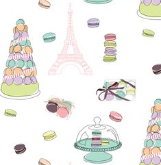 macarons in paris illustration
