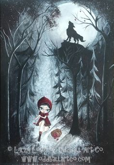 'Red Riding Hood Signed Art Print by Lizzy Love ' is going up for auction at  8pm Thu, Nov 8 with a starting bid of $6.