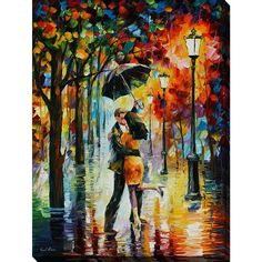 FramedCanvasArt.com Leonid Afremov 'Dance Under The Rain' Giclee Print... ($124) ❤ liked on Polyvore featuring home, home decor, wall art, canvas wall art, giclee wall art, vertical wall art, canvas home decor and landscape wall art