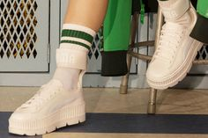Rihanna Unveils an All-White Fenty PUMA Ankle Strap Creeper: Dropping this week. Rihanna Sneakers, New Sneakers, Platform Creepers, Platform Sneakers, Fenty Puma, Creepers Outfit, Crocs Slippers, Chelsea Boots Outfit, Gothic