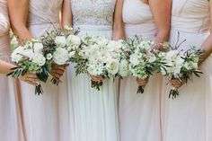 Bride and bridesmaids white and green bouquets by Teresa Sena Design - Jana Williams Photography
