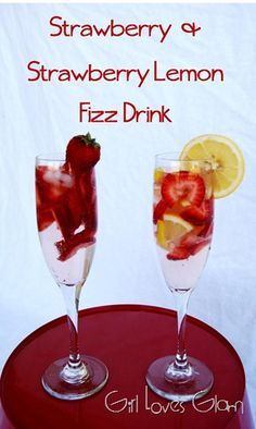 Recipe: Drinks Recipe / How to Strawberry Strawberry Lemon Fizz Drinks - tableFEAST Sweet Alcoholic Drinks, Fizz Drinks, Bar Drinks, Fancy Drinks, Cocktails, Lemon Drink, Cold Meals, Summer Drinks, Love Food