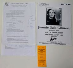 This is an original 1996 contract for a Jimmiedalegilmore concert with acquired directly from Mike Elko of Elko Concerts. If you want this original contract, go to our website Americana Music, Piece Of Music, Concert Tickets, Pittsburgh Pa, Special Guest, Concerts, Website, The Originals, Vintage