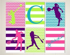 softball girls wall art basketball room decor tennis girl wall art tween wall art volleyball girl set of 6 custom colors and sports - Volleyball Bedroom Decor