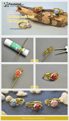 How to Make Rose Flower Acrylic Beads Wire Wrapped Ring Wrap the gold aluminum wire into a ring shape and thread the rose flower acrylic bead onto the wire, and then a ring is finished! How easy it is!